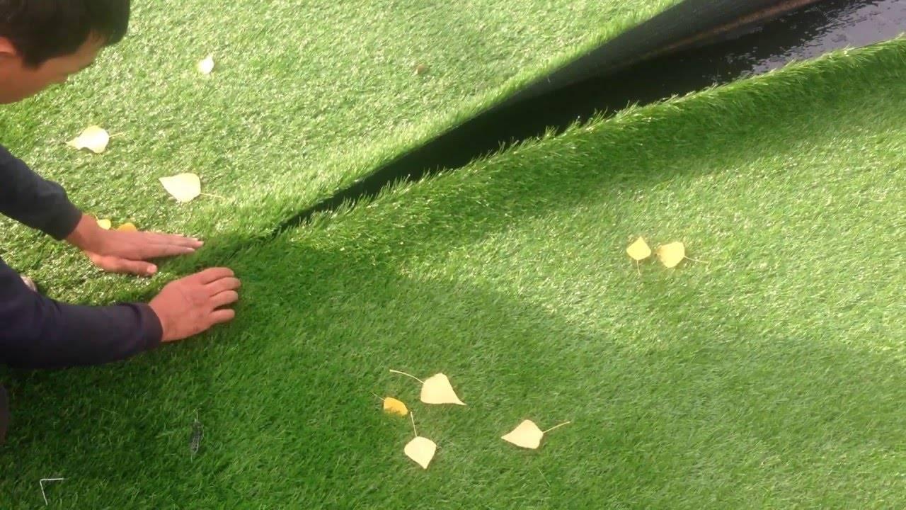 Как правильно уложить искусственный газон? как укладывать траву с шовной лентой на землю? как ее крепить к бетону? какие скобы нужны?