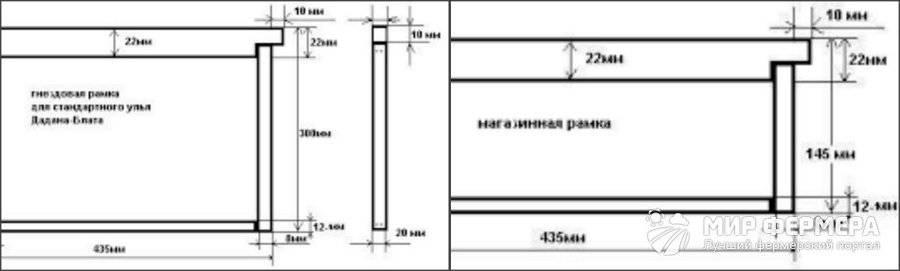 Улей дадан на 12 рамок: размеры, чертеж со съемным дном