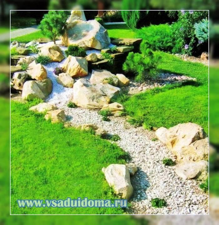 Сухой ручей своими руками – пересохший ручей на даче с мостиком – дизайн, камни, цветы и растения – поэтапное руководство + фото