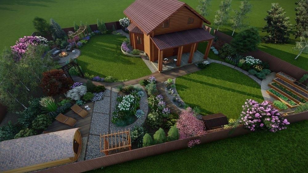 Планировка участка на 6 сотках: варианты обустройства и дизайна с баней, гаражом