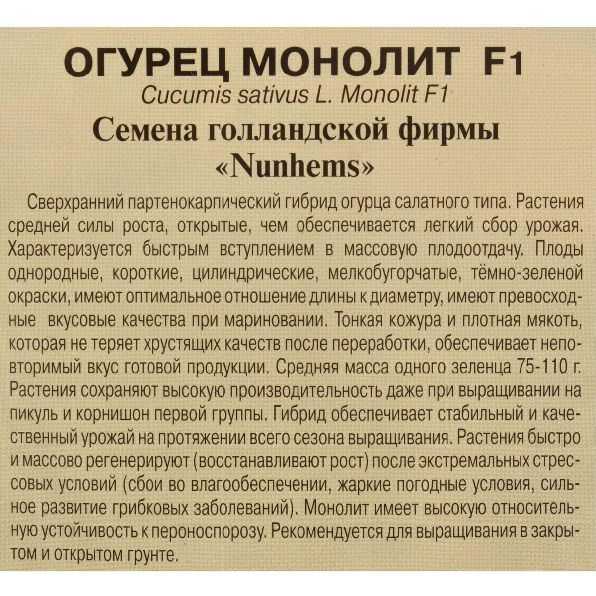 Огурец монолит — описание сорта, фото, отзывы, посадка и уход
