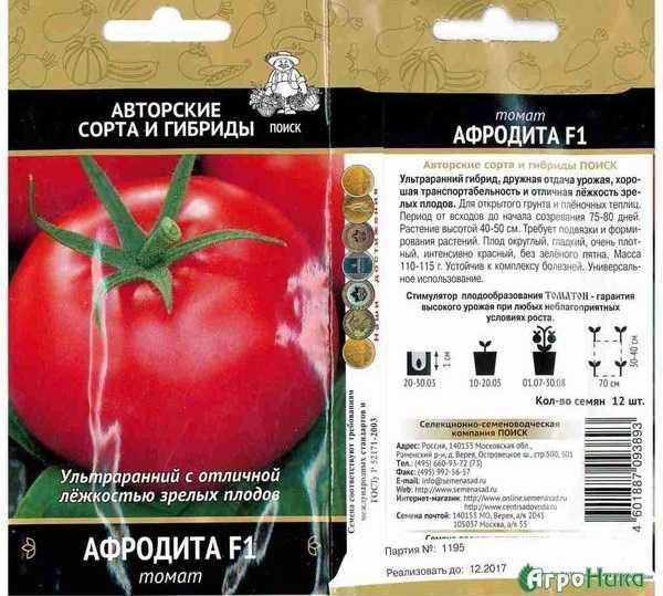 Томат афродита f1 характеристика и описание сорта