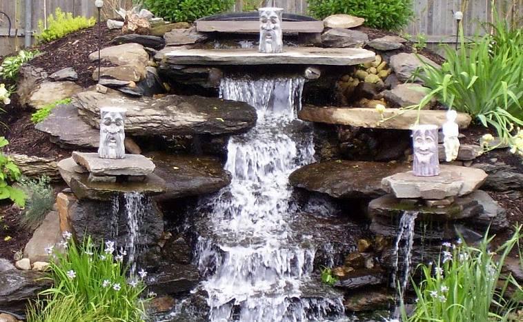Пейзажный водопад и необычный фонтан своими руками