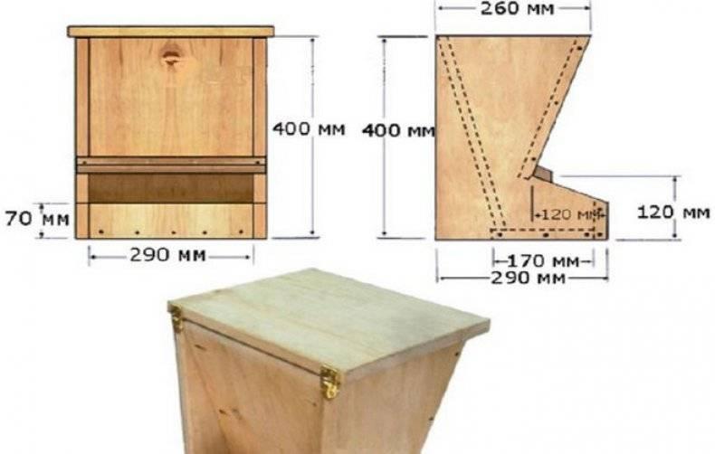 Кормушка для кур своими руками: как сделать чертежи с размерами, а по ним самодельные (из дерева, подручных материалов или пластика) емкости, фото
