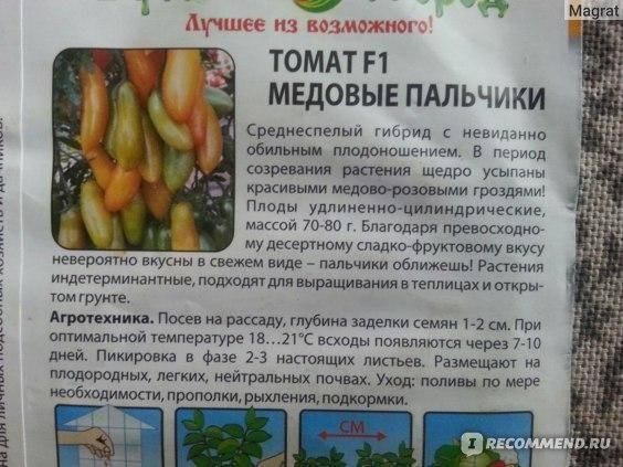 Томат медовые пальчики f1 — описание сорта, отзывы, урожайность
