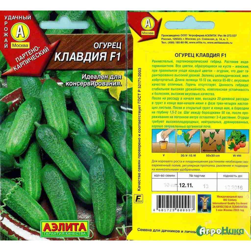 Огурец клавдия f1: характеристика и урожайность сорта